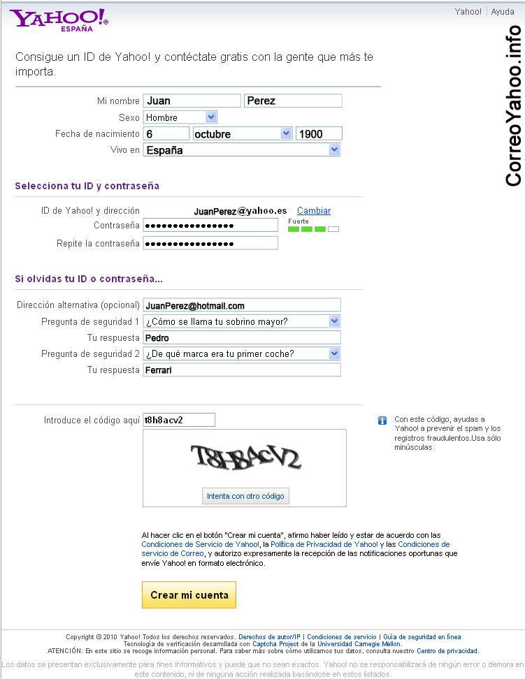 formulario de registro yahoo