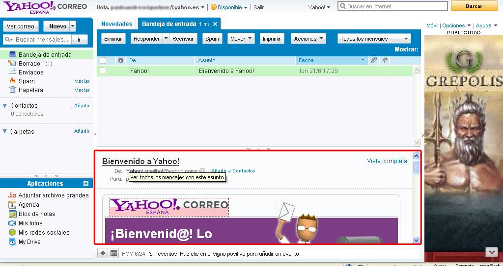 leer correo yahoo con un click