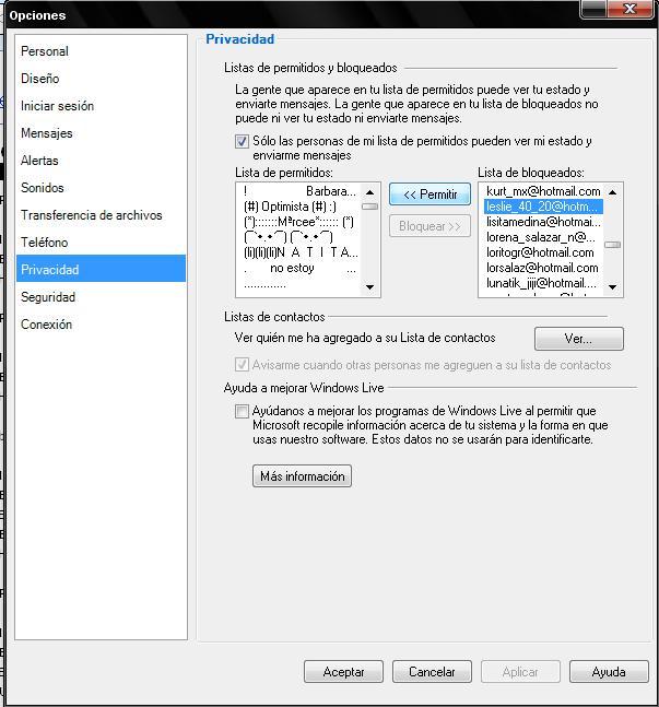 Bloquear y desbloquear contactos en Windows Live Messenger 3